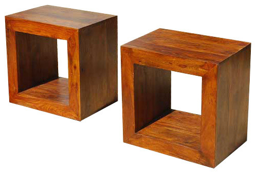 Solid wood block coffee table book shelf bed side table for Solid block wood coffee table