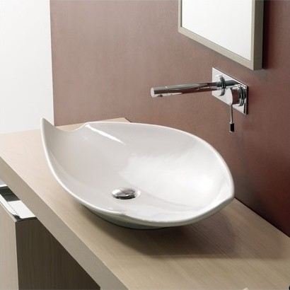 Above The Counter Bathroom Sinks : Kong 70 Above Counter Bathroom Sink in White - Modern - Bathroom Sinks