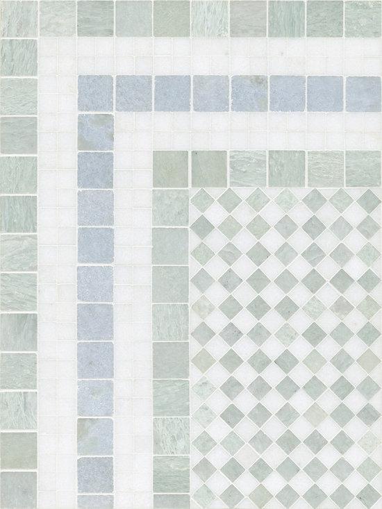 "Winston border 6"" with 1.5cm Checkerboard field 12"" x 16"" - Blue Celeste, Ming Green, Thassos"