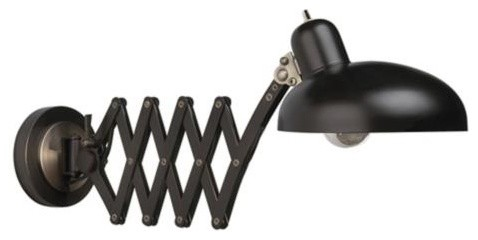 Bruno Collection Scissor Arm Pharmacy Plug-In Wall Light industrial-wall-sconces