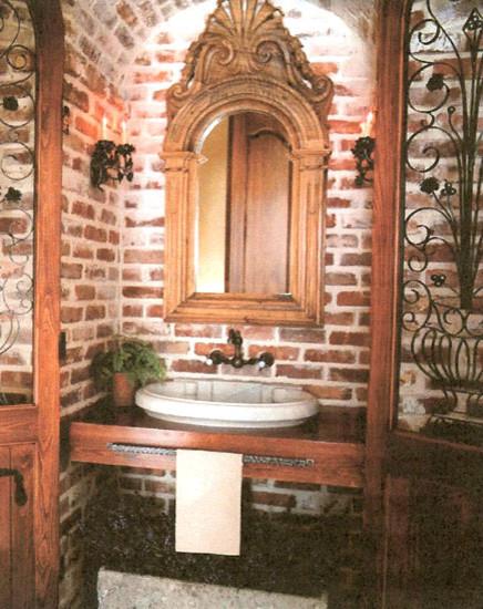 Brick traditional-bathroom