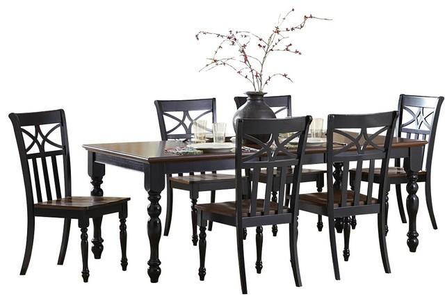 Homelegance Sanibel 7 Piece Dining Room Set In Black And Warm Cherry Tradit