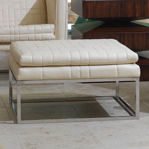Quilted tuxedo ottoman in ivory footstools and ottomans