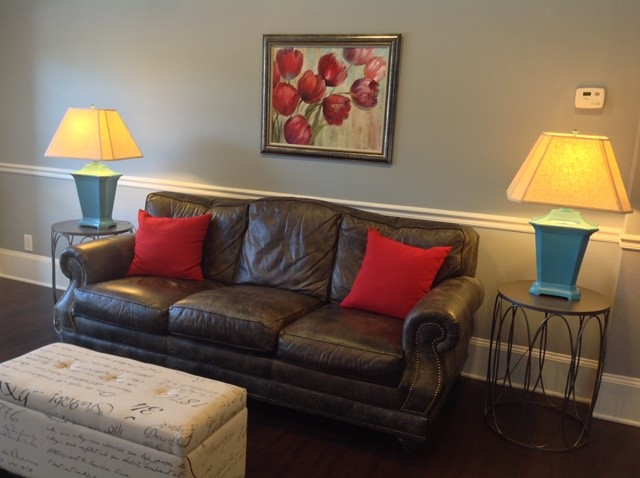 Accents Of Turquoise And Red Grand Living Room Transitional Family Room Other Metro By