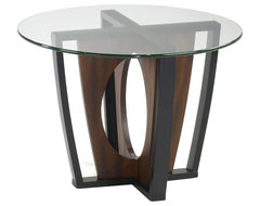 Armen Living Decca Glass Top Lamp Table in Espresso transitional-side-tables-and-end-tables