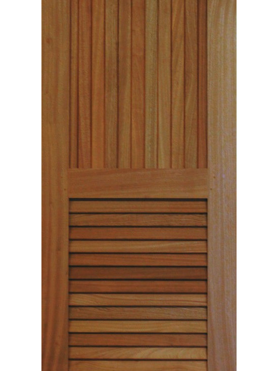 Closet Doors - These custom sized stile and rail doors are made in Sapele Mahogany with true floating louvers and individual tongue & groove boards to allow for proper expansion and contraction.