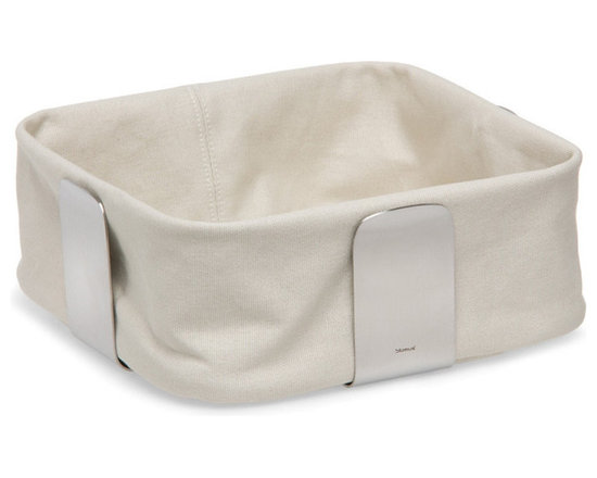 Blomus - Desa Bread Basket - Large, Sand - The Desa Bread Basket from Blomus is available in your choice of 4 colors and 2 sizes. Made with brushed stainless steel and cotton fabric.