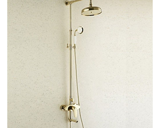 Shower Faucets - Antique Style Ti-PVD Finish Brass Shower Faucets with Shower Head & Hand Shower 20 x 20cm--FaucetSuperDeal.com