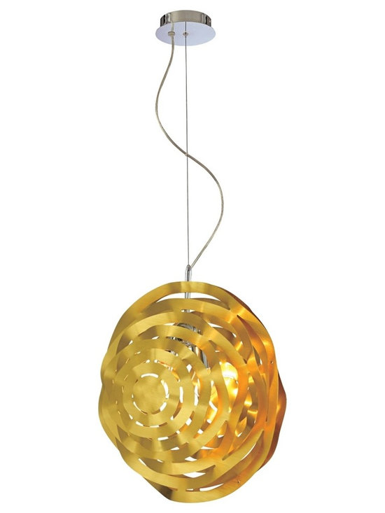 "Eurofase - Sereniti 2-Light Gold Pendant Chandelier - The colorful shade of this pendant light hangs from a slender cable. The optic effect of the gold finished aluminum creates a multi-surfaced shade that brilliantly reflects light. Chrome finish. Gold finished aluminum construction. Takes two 60 watt bulbs (not included). Shade is 19 1/4"" wide and 21"" high. 141"" overall height.  Chrome finish.  Gold finished aluminum construction.  Takes two 60 watt bulbs (not included).  Shade is 19 1/4"" wide and 21"" high.  141"" overall height."