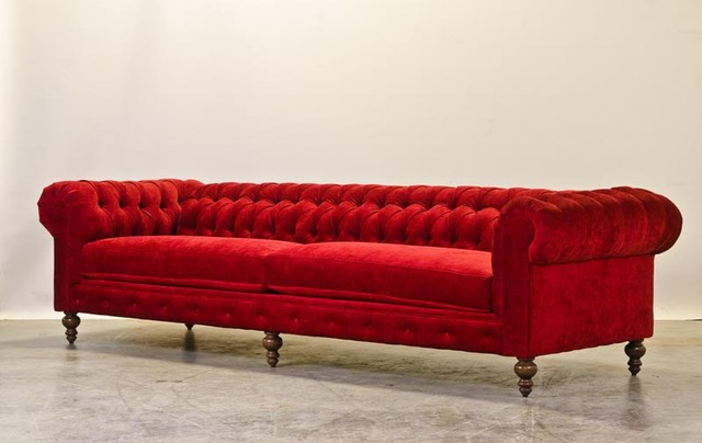 Red Chenille Chesterfield - Sofas - charlotte - by COCOCO Home, inc