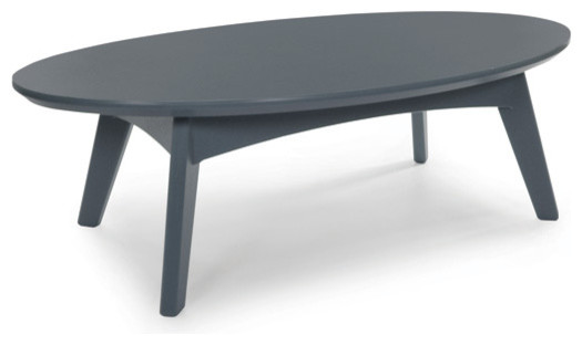Satellite cocktail table oval charcoal grey for Charcoal coffee table