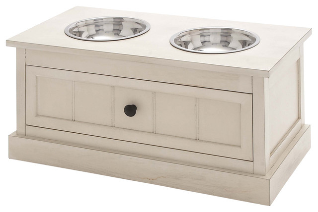 Malibu Solid Wood Pet Bowl Feeder With Storage Drawer - Antique White - Pet Supplies - by ...