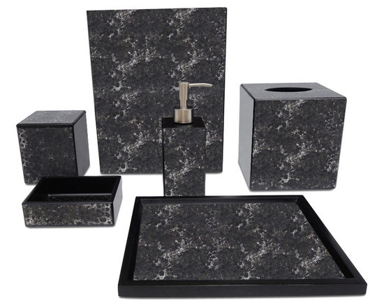 Waylande Gregory Black Mosaic Bathroom Set - Give your bathroom the spa makeover it deserves with this exquisite set of bathroom accessories. Each piece is done in a dramatic black and brown color palette and features a stunning mosaic finish that adds to the allure. Purchase a few pieces individually to make a modest impact in your powder room or commit to the entire set to really transform your space.