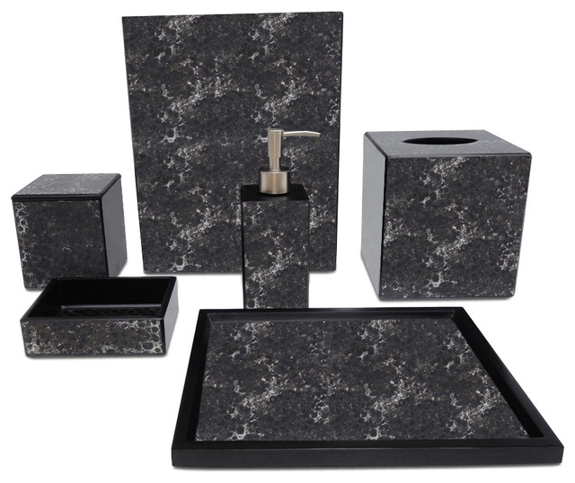 Waylande gregory black mosaic bathroom set bathroom for Mosaic bathroom set