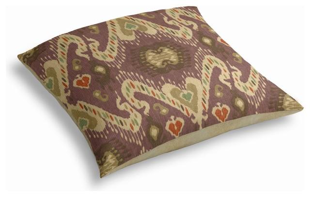 Purple, Taupe & Orange Ikat Custom Floor Pillow - Mediterranean - Floor Pillows And Poufs - by ...