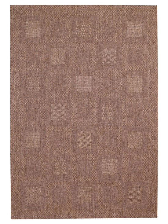 Seabreeze Blocks rug in Cocoa - This rugged and textured cross weave is plenty durable for kitchens and sunrooms - and for covered verandas and decks, too!