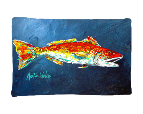 Caroline's Treasures - Fish - Red Fish Red For Jarett Fabric Standard Pillowcase - Standard White on back with artwork on the front of the pillowcase, 20.5 in w x 30 in. Nice jersy knit Moisture wicking material that wicks the moisture away from the head like a sports fabric (similar to Nike or Under Armour), breathable performance fabric makes for a nice sleeping experience and shows quality. Wash cold and dry medium. Fabric even gets softer as you wash it. No ironing required.