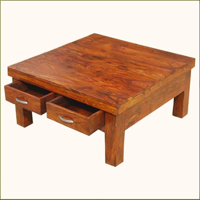 Square Coffee Table With Storage: Solid Wood Rustic 4 Drawers Square Storage Coffee Table