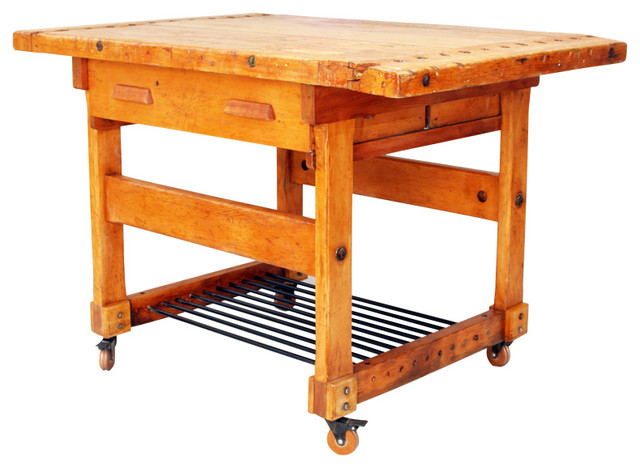 vintage industrial solid maple workbench kitchen island west furniture revival revival monday 159