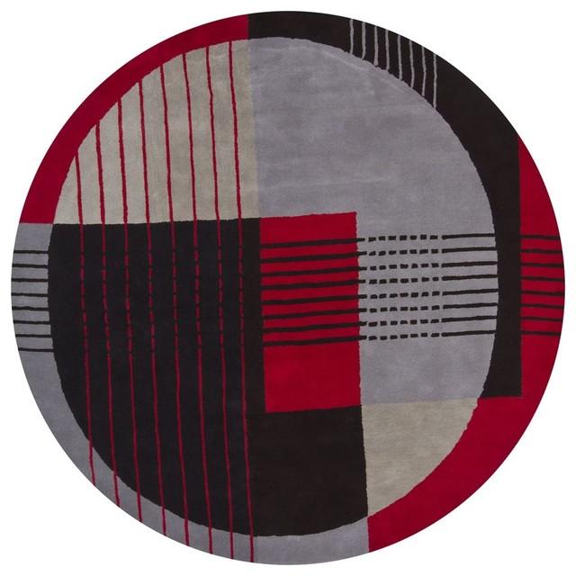 Contemporary daisa round 7 39 9 round red black area rug for Round contemporary area rugs