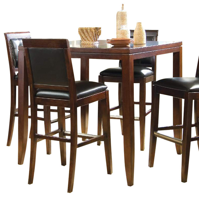 American Drew Tribecca 6-Piece Bar Table Set in Root Beer Color traditional-dining-tables