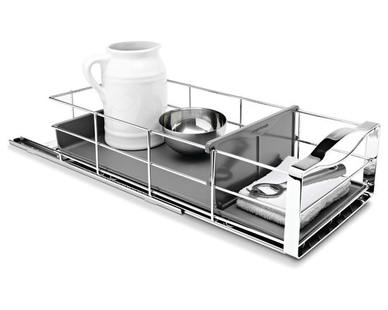 simplehuman - 9 Inch Pull-Out Cabinet Organizer - Reduce clutter and maximize your storage space with this handy pull-out cabinet organizer. The heavy-gauge steel basket slides out on commercial-grade ball-bearing tracks, letting you easily access items in the back of your cabinet. The removable drip tray protects surfaces from spills and leaks.