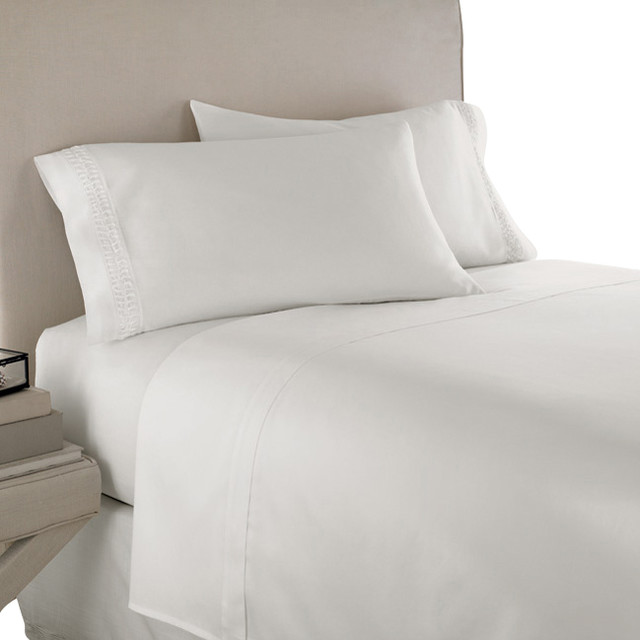 400TC 100% Egyptian Cotton Solid White Olympic Queen Size Sheet Set contemporary-sheets