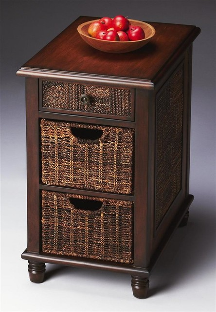 chairside chest with two abaca storage baskets