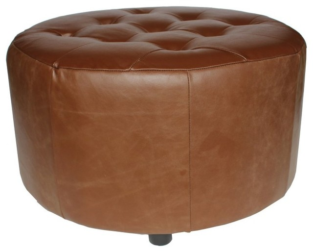 Elegant Home Fashions Arlington Round Ottoman - 6666-BROWN contemporary-footstools-and-ottomans
