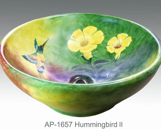 """Hand Painted Vessels Sinks by Atlantis - """"Hummingbird II"""" Painted on AP-1657 white Nice vessel sink with overflow O/D 17-1/2"""" diameter. Design can be customized using your own colors."""