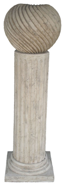 """Fluted Pedestal Fountain - Roman Stone Finish, 58.50""""H outdoor-fountains"""