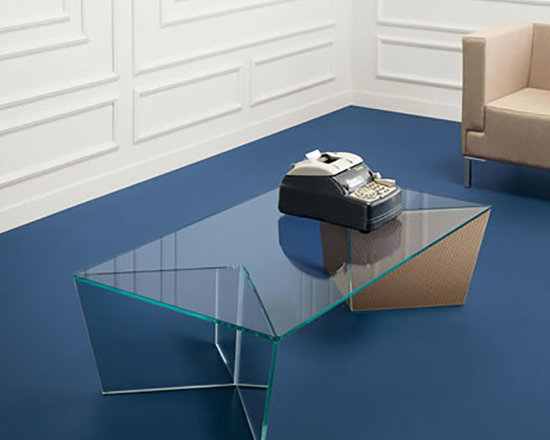 Mirage Rectangular Glass Coffee Table - All glass modern coffee table with a twist. Mirage table collection is the perfect combination of two materials: Tonelli design glass and Alpi wood. Also available in the extra clear glass mirrored with veneered Alpi wood finish. Mirage consists of two low tables with a rectangular and square top, a night table, and a console. Design by Matteo Ragni.