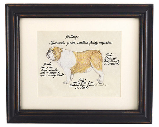 Ballard Designs - Bull Dog Print - Our Bull Dog Print was created by the dog-loving, husband and wife team of Vivienne and Sponge. The Bull Dog is known for being affectionate, gentle and an excellent family companion. Each Bull Dog portrait is hand colored and embellished with notes on the breed's special characteristics. Printed on antiqued parchment, signed by the artists and framed in antique black wood with eggshell mat and glass front. Bull Dog Print features:Hand colored & signed . Printed on parchment. Eggshell mat. Antique black frame