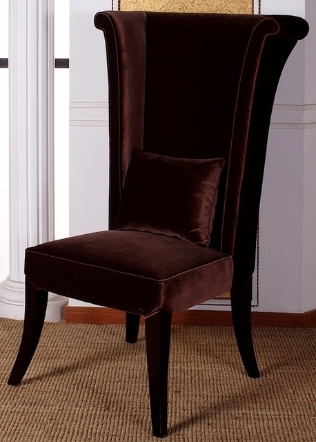 Mad hatter tall wing back velvet dining chair for Wing back dining chairs
