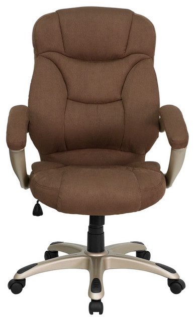 High Back Brown Microfiber Upholstered Contemporary Office Chair Modern T