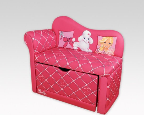 Kids Furniture - A little girl's dream come true! A lovely, chic lounge chair combined with a toy box. This chair has everything! Fully padded upholstery for ultimate comfort, the Barbie Glam Storage Chaise Lounge also has a pull-out storage box that fits right underneath the chair. Perfect for making the most out of small spaces.