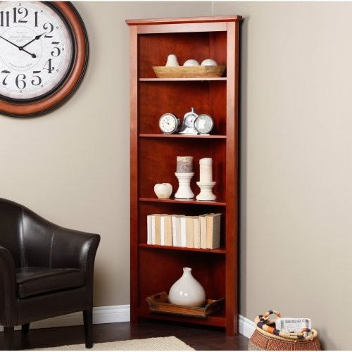 Redford Cherry Corner Bookcase - Traditional - Bookcases - by Hayneedle