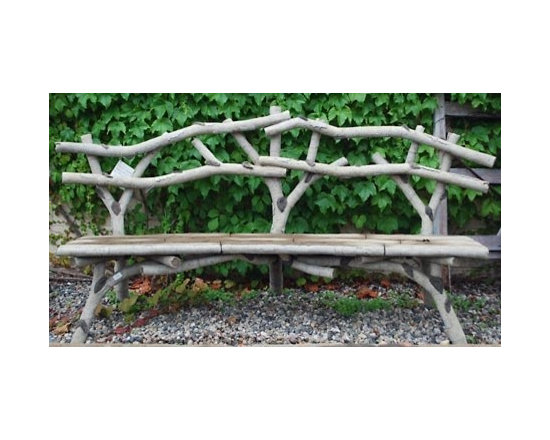 Branch Hand-Carved Concrete Faux Bois Birch Bench -