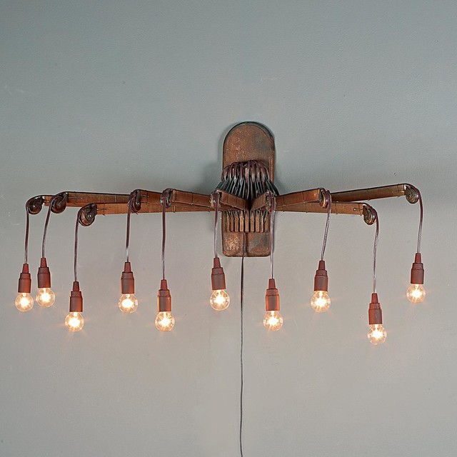 Old Wooden Wall Lights : Repurposed Vintage Wooden Drying Rack Sconce - Wall Sconces - by Shades of Light