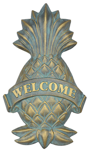 Pineapple welcome plaque traditional outdoor decor for Pineapple outdoor decor