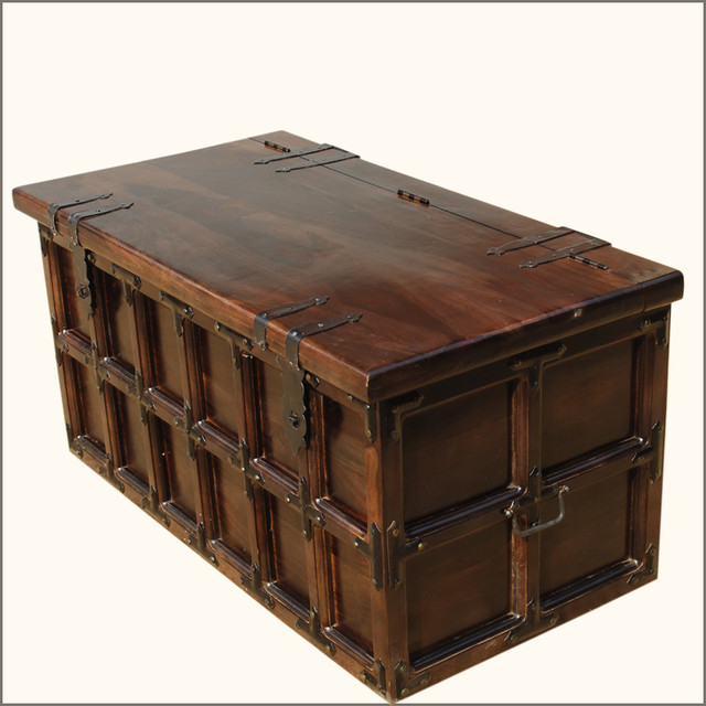 Solid Wood Iron Rustic Coffee Table Storage Trunk Traditional Decorative Trunks San