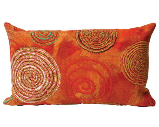 """Trans-Ocean Outdoor Pillows - Trans-Ocean Liora Manne Graffiti Swirl Warm - 12"""" x 20"""" - Designer Liora Manne's newest line of toss pillows are made using a unique, patented Lamontage process combining handmade artistry with high tech processing. The 100% polyester microfibers are intricately structured by hand and then mechanically interlocked by needle-punching to create non-woven textiles that resemble felt. The 100% polyester microfiber results in an extra-soft hand with unsurpassed durability."""