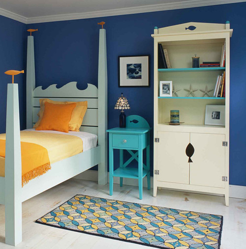 dormitorio con paredes azules