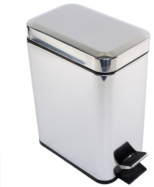 Kitchen cabinet trash can kitchen - Rectangular Polished Chrome Waste Bin With Pedal