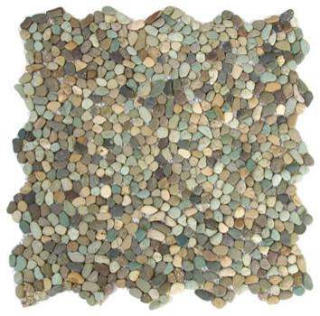 Mixed Green Pebbles & Stones Green Kitchen Tumbled Natural Stone tropical-tile