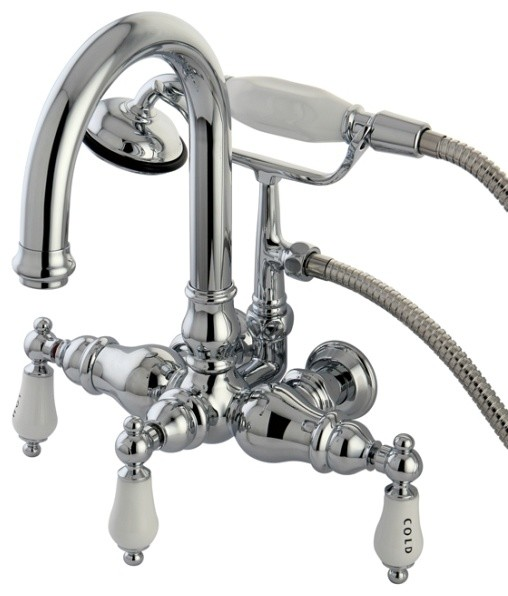 Polished Chrome 3 3 8 Wall Mount Clawfoot Tub Filler With Hand Shower C