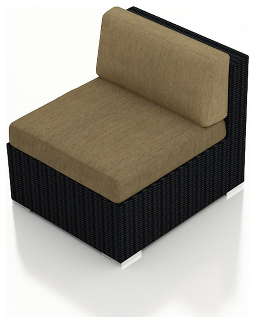Urbana Modern Outdoor Middle Section, Heather Beige Cushions modern-outdoor-sofas