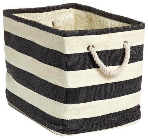 Rugby Stripe Bins contemporary-baskets