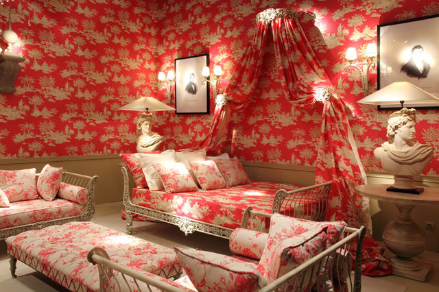Red Toile Bedroom Traditional Bedroom Dublin By Lorna O Growney Inter