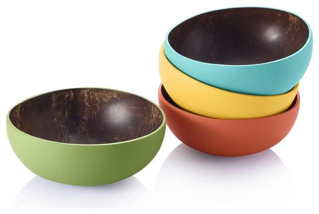 Reclaimed Coconut Shell Bowls by Bambu contemporary-serveware